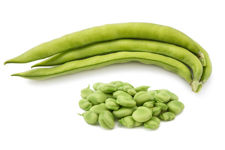 Fava beans  isolated on  white background Banco de Imagens