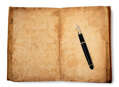 old copybook with fountain pen   isolated on white background