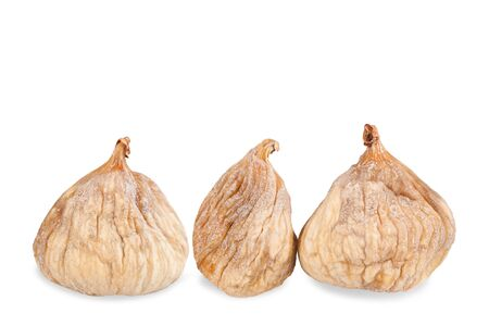 Three  dried figs isolated on white background Archivio Fotografico