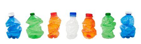 squashed plastic bottles isolated on white background