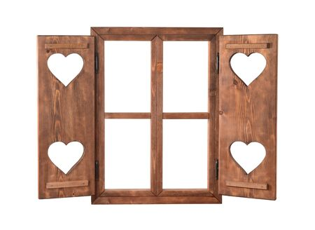 Wood window with shutters with hearts isolated on white