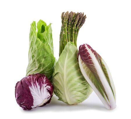 Chicory asparagus radicchio end salad isolated on white