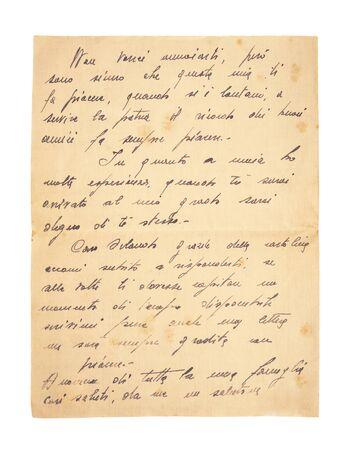 Altes Vintage-Manuskript isoliert auf weißem Hintergrund