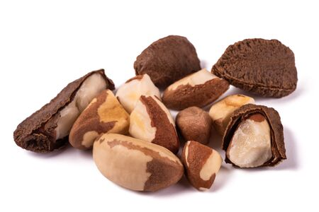 Brazil nuts group isolated on white background