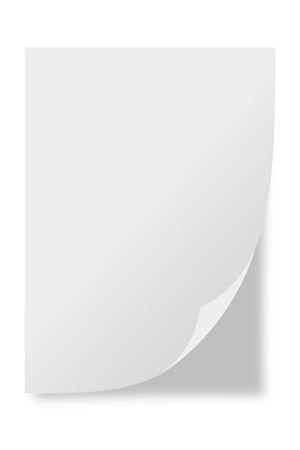 Hoja de papel blanco aislado sobre fondo blanco.
