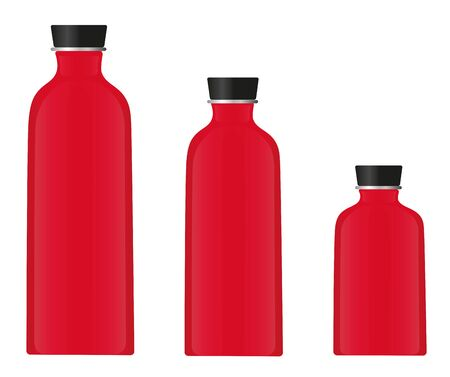 three red water bottles isolted on white background
