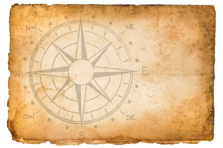 old  vintage  parchment with compass rose Фото со стока