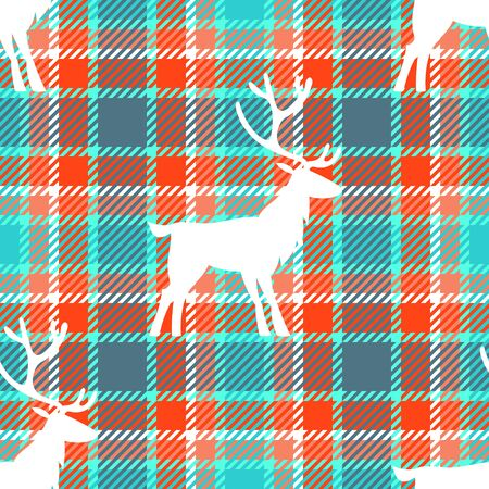 Christmas seamless pattern. White indeer silhouette on tartan plaid checkered background. Orange, mint green, red, gray colors. Textile design for winter, Christmas, New Year holidays