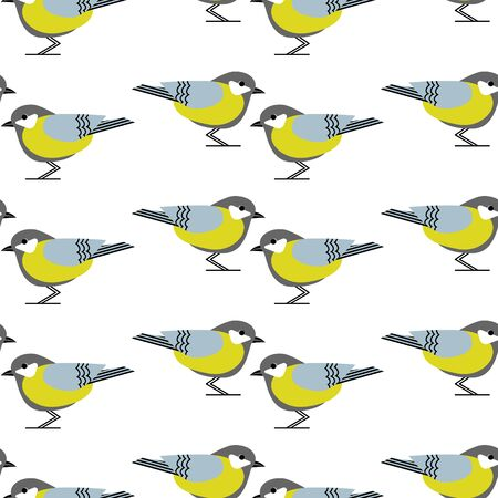 Seamless pattern with tomtit birds. Funny yellow on white background