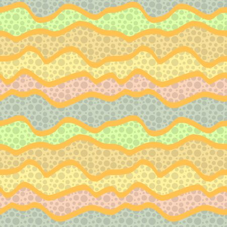 Abstract seamless pattern of waves with the texture of small circles. Warm pastel colors, yellow, orange, pink, light green, gray. Textil or paper design Vecteurs