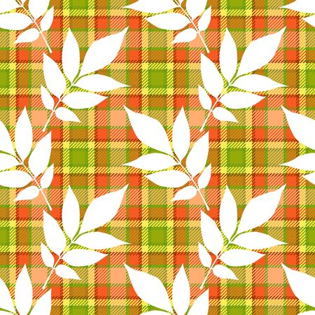 Autumn seamless pattern of ash (fraxinus excelsior) leaves white silhouettes on checkered tartan plaid textile background of red, green, yellow, orange and pink colors