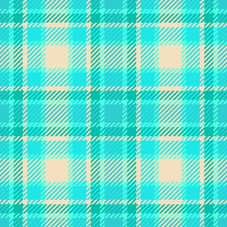 Scottish checkered tartan plaid seamless pattern. Mint green, turquoise and gold colors. For textile design Stock Vector - 150319676