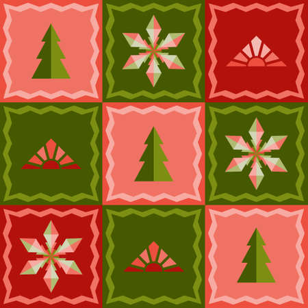 Ð¡hristmas seamless pattern in patchwork style. Fir trees, snowflakes, rising sun. Bright colorful traditional green and red design