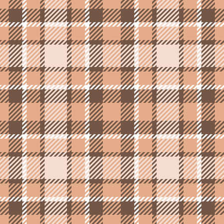 Seamless checkered plaid pattern. Traditional tartan textile ornament in brown and beige colors. For textile design