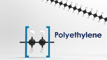 Polyethylene monomer & polymer 3D image Stock Photo
