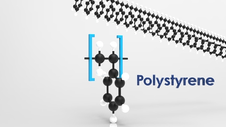 polystyrene monomer and polymere 3d structure