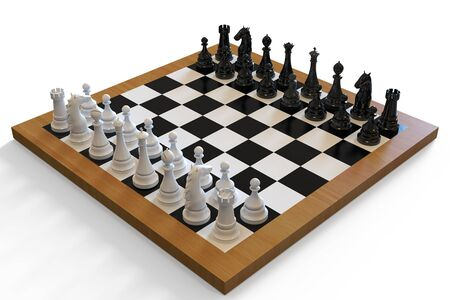 3d illustration. chess board and pieces