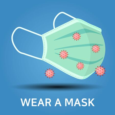 Face mask. Breathing medical respiratory mask. Surgical mask. Procedure mask. Protect face masking. Stay away from harmful germs like coronavirus, Covid-19 outbreak. Imagens