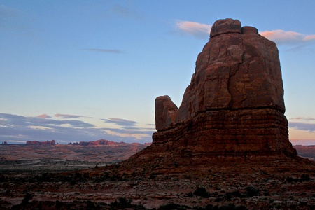 Rock formation at sunset
