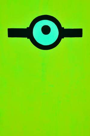 chartreuse: Green color background with one eye