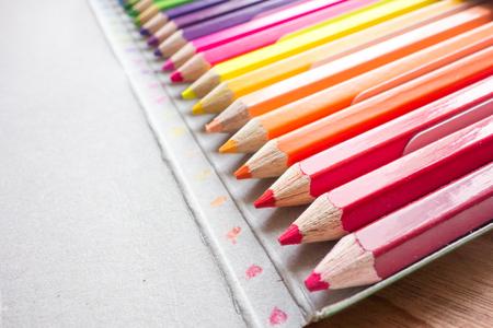 coloured pencil: coloured pencil on the paper box Stock Photo
