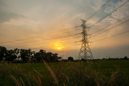 electric grid: The electric post with sunset in the background