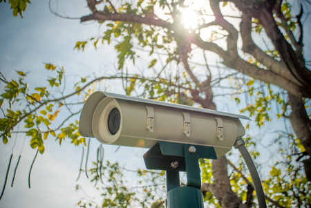 close circuit camera: The white CCTV camera with tree and sky in background