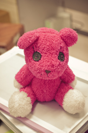pink teddy bear: The pink teddy bear sit on the book and office area in background