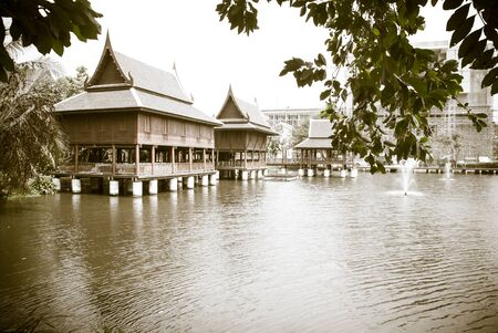tine: Black and white tine Thai house style along the River, Thailand
