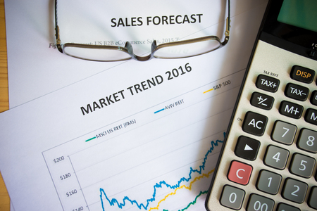 trend: Financial accounting market trend 2016 graphs analysis Stock Photo