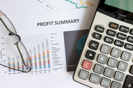 Top view Profit summary concept 版權商用圖片
