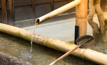 The Traditional Bamboo Fountain in Osaka ,Japan