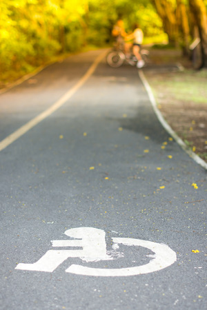The handicapped road in the public park witn bicycle in background 版權商用圖片
