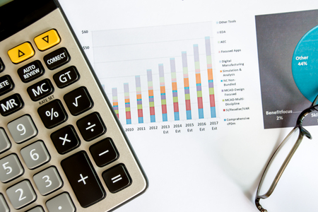 Finance information on business charts and tables Stockfoto