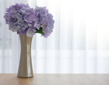 The vase of beautiful hydrangea with white background