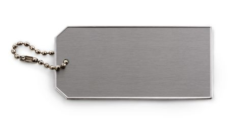 brushed: Brushed metal textured tag and chain, isolated on white background.