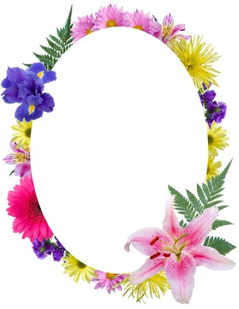 Oval floral frame photo