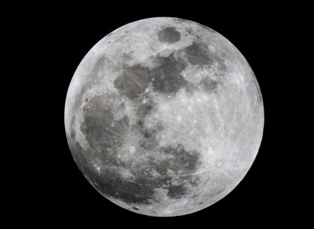 Close-up of full moon (Taken at prime focus of a 5 telescope)