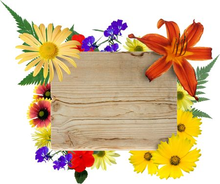 Wood sign framed by isolated flowers.