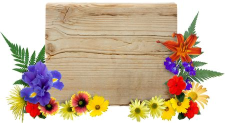 Wood sign framed by isolated flowers. photo