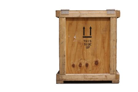crate: Wooden crate, isolated on a white background.