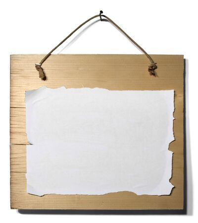 Wood Sign with a white sheet of paper photo