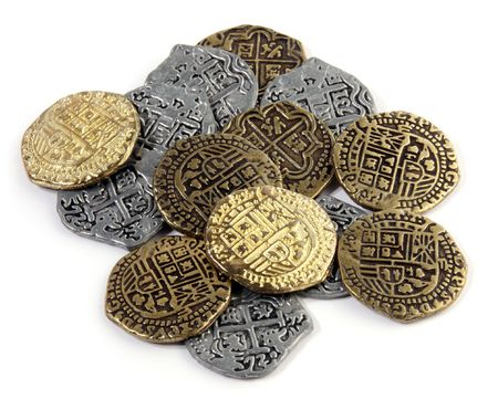 silver coins: Pirate Coins : small pile of Doubloons and Reales.