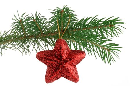 Star shaped christmas tree ornament on a branch, isolated.