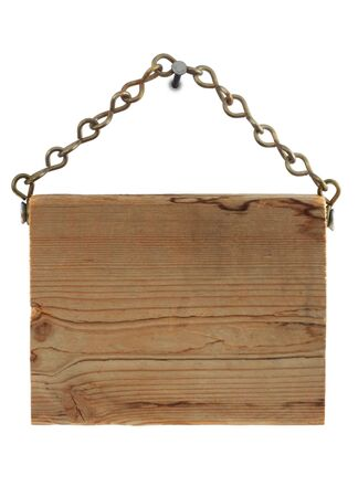 Wood sign, hanging from a chain.