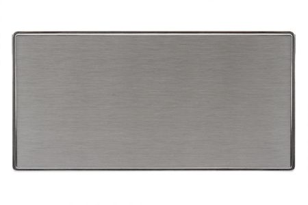 brushed: Close-up of a brushed metal name plate, isolated on white. Stock Photo
