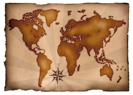 Map : World chart on an ancient parchment.