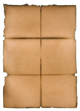discolored: Folded, discolored and torn piece of paper.