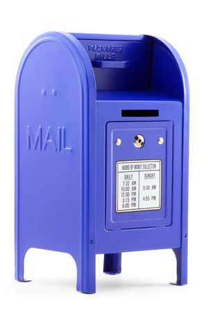 dropbox: Close-up of a blue metallic Mailbox, isolated on white background.