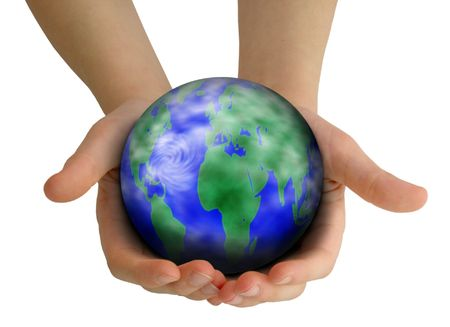Childs hands holding Earth: caring for the planet.